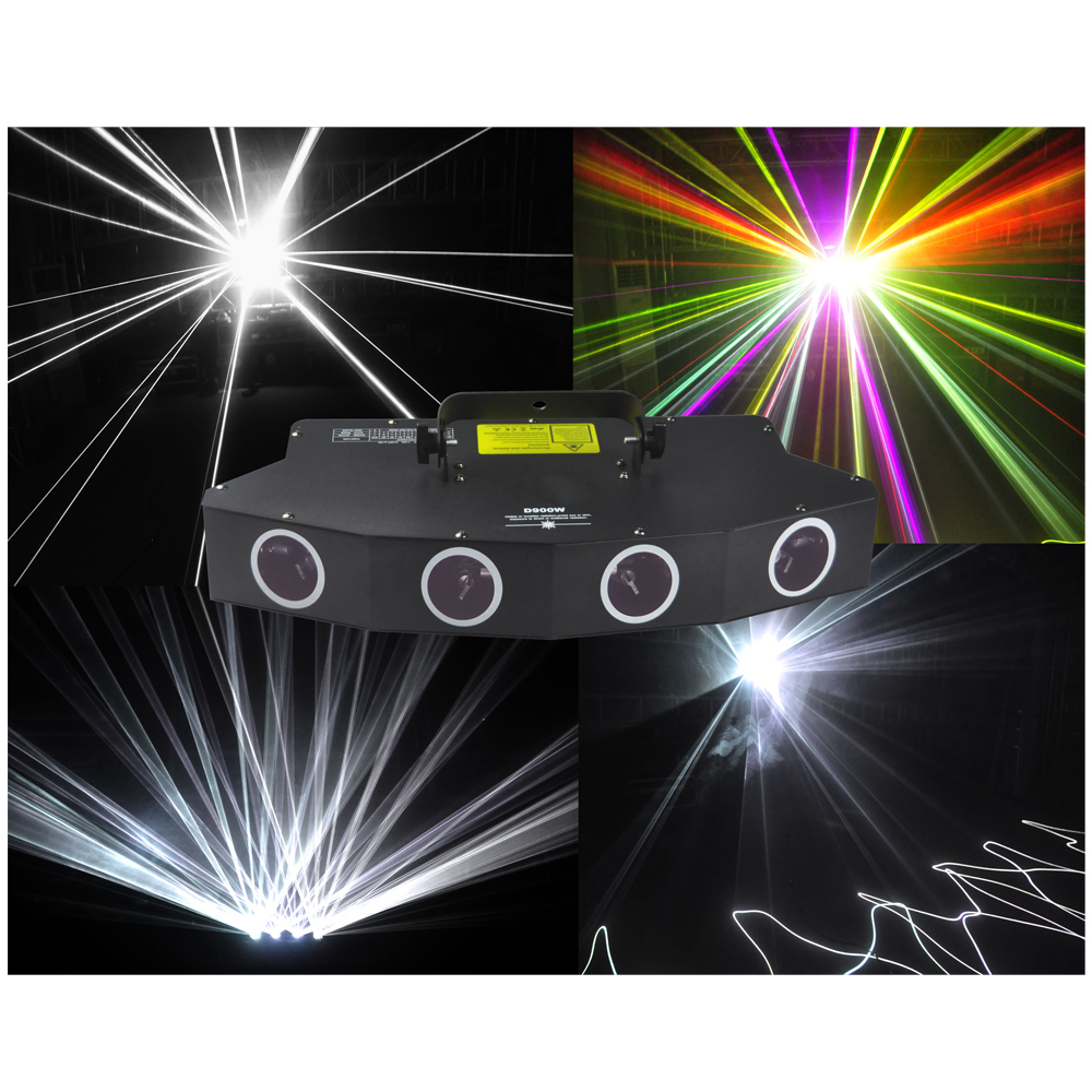 900mW led laser stage lighting 4 head 4 tunnels principal white color fill in light 6 colors laser beam effects laser light-in Stage Lighting Effect from Lights & Lighting