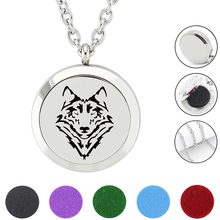 New Arrival 316L Stainless Steel Magnetic 30mm Silver Essential Oil Diffuser Perfume Locket wolf aromatherapy Necklace Jewelry
