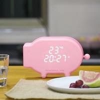 Multifunction Cartoon Pig Alarm Clock Temperature Lamp Function USB Charge Clock for Bedroom JDH99