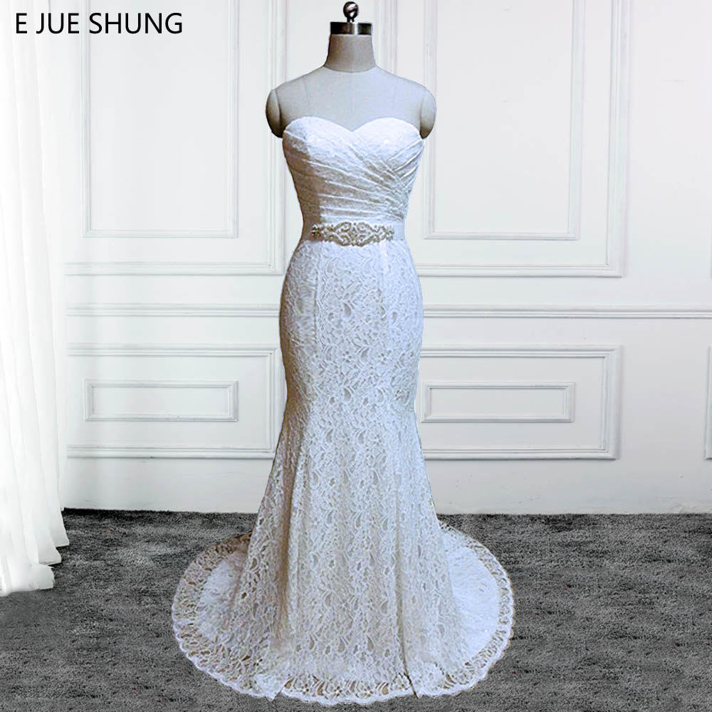 E JUE SHUNG Vintage Lace Cheap Mermaid Wedding Dresses