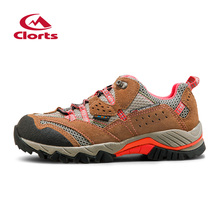 2016 Clorts Women Hiking Sneakers HKL-829F Cow Suede Low Cut Athletic Sport Shoes Waterproof Outdoor Trekking Shoes for Women