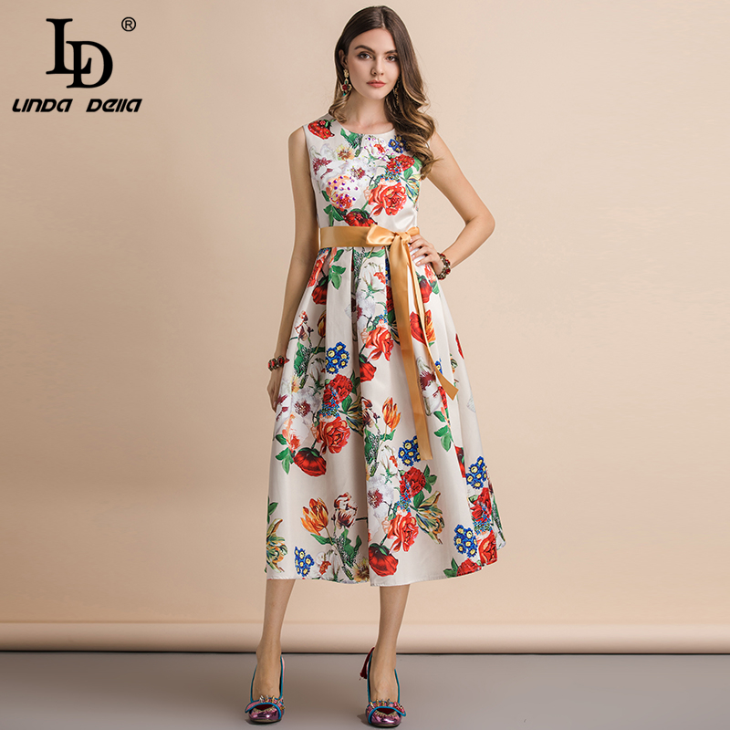 LD LINDA DELLA Fashion Runway Summer Dress Women s Sleeveless Crystal Beading Floral Print Slim Holiday