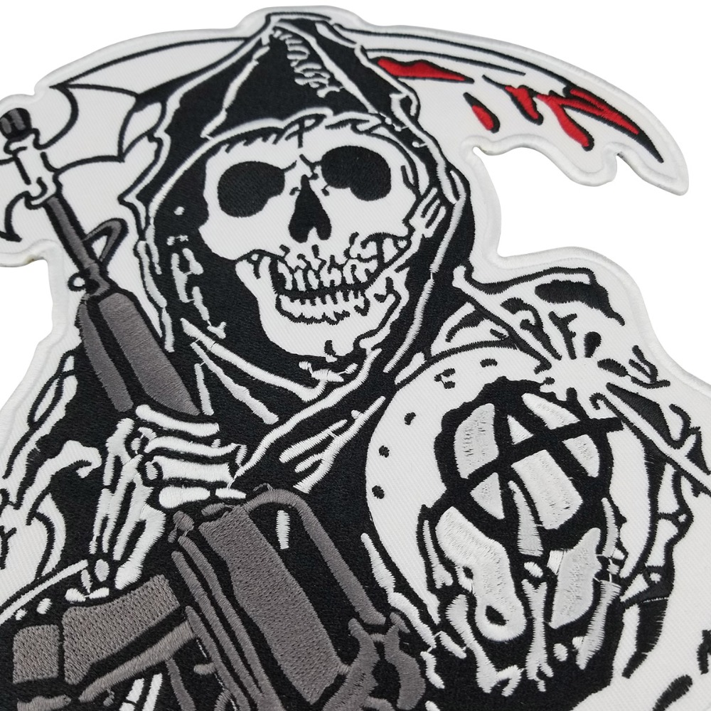 Sons of patch Anarchy Biker Men Jacket embroidered Iron On Sew On patch for clothes Blue fully 15pcs Set SOA Skull Series in Patches from Home Garden