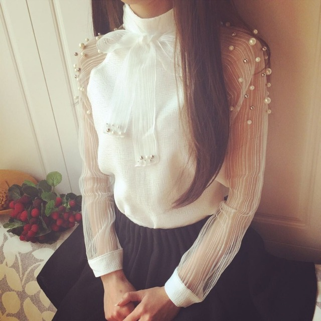 2018 New spring elegant organza bow of Pearl White blouse casual chiffon shirt women blouses tops blusas femininas 607I 25