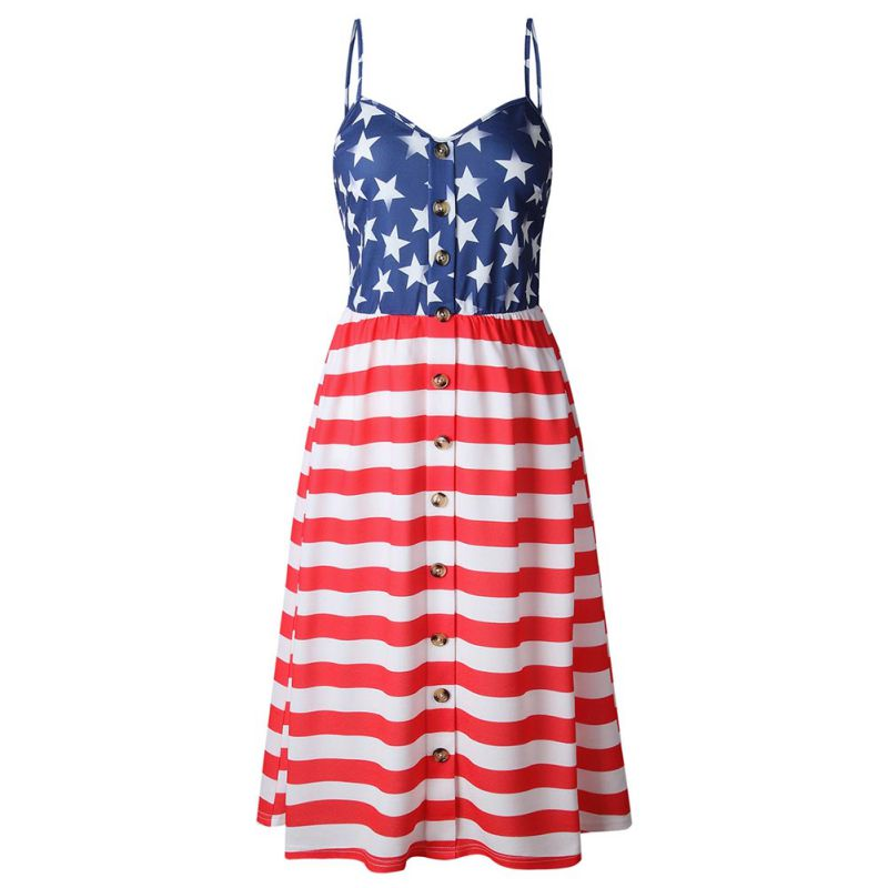 8bc65ed330 Kobiety Sukienka V Szyi Paski Strars Drukowane Sukienka USA Dzień  Niepodległości American Flag Retro Bez Rękawów Vestidos w Kobiety Sukienka  V Szyi Paski ...