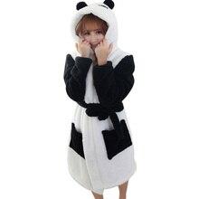 Winter Bathrobe Women Pajamas Bath Robe Sleepwear Womens Robes Coral Velvet Cartoon Panda Nightgowns Homewear Asian Size M-L
