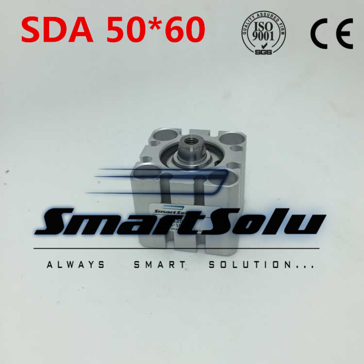 Free Shipping SDA 50-60 Pneumatic Compact Air Cylinder 50mm Bore 60mm Stroke Airtac Type free shipping 2pcs lot sda 12 20 m5 0 8 port 12mm bore 20mm stroke double action airtac type pneumatic compact air cylinder