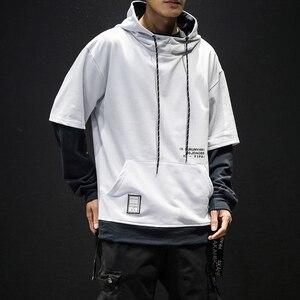 Image 4 - 2019 jesień nowy nabytek męska bluza modna, patchworka bluzy męskie Casual bluzy z kapturem z literami Hip Hop bluzy z kapturem US rozmiar