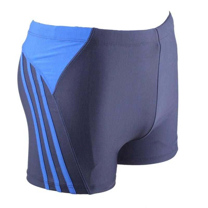 LumiParty Men Sexy Color Patchwork Slim Swimming Short Pants Breathable Quick-dry Trunks