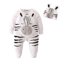 Infant Cartoon Zebra Newborn Baby Romper+Cap