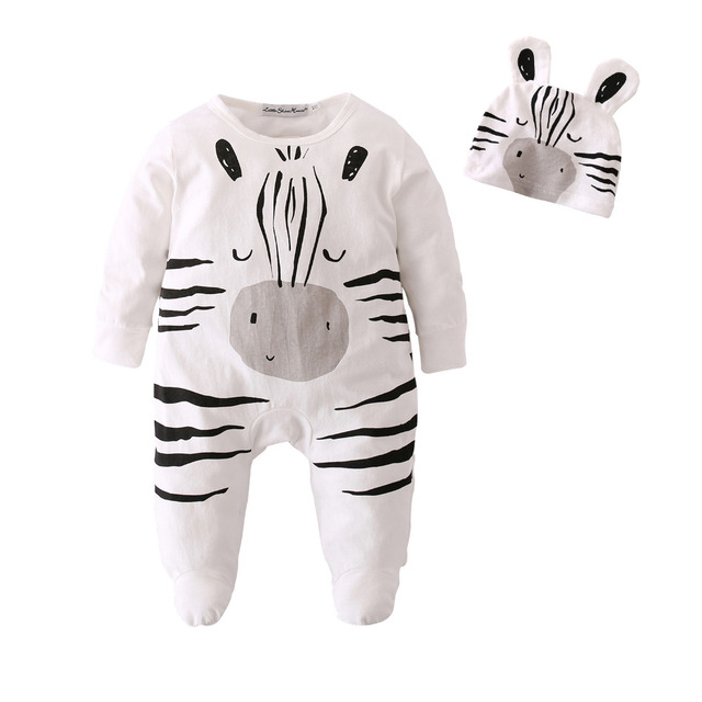e32647ebd Baby Rompers Long Sleeve Cotton Jumpsuit Baby Infant Cartoon Zebra Newborn  Baby Clothes Romper+Cap Toddler Outfits