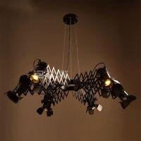 Retro Vintage Iron LED Loft Cafe Bar Restaurant Bedroom Retractable Ceiling Lamp Chandelier Spotlight Light Droplight Decor Gift
