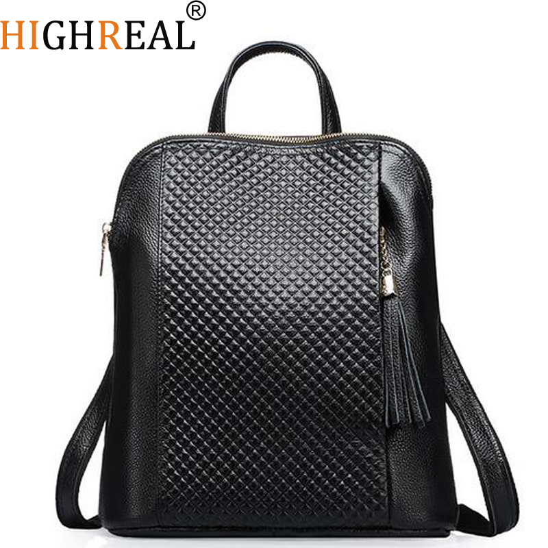 HIGHREAL New Genuine Leather Women Backpack College Style Cowhide Bag Travel Bag Real Leather Backpack Female Designer J04