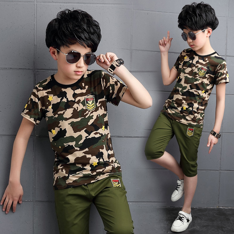 2017 Sports Style Popular Camouflage Suit For Kids Boys Comfortable Cotton O-Neck Tshirts Pants 2 Pieces Summer Wear Vestidos 2017 new boys clothing set camouflage 3 9t boy sports suits kids clothes suit cotton boys tracksuit teenage costume long sleeve