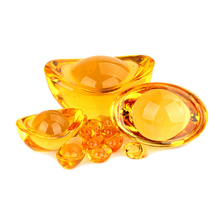 1 Pieces Feng Shui Chinese Yellow Crystal Paperweight Gl Gold Ingots Lucky Home Decoration Family