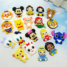 19 stks/partij Mickey Minnie Cartoon Prinses Donald duck Accessoires Flat Terug PVC DIY Gadgets schoen charmes telefoon geval kids gift(China)