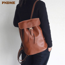PNDME handmade genuine leather women's backpack cowhide simple waterproof ladies bagpack anti theft travel bookbags