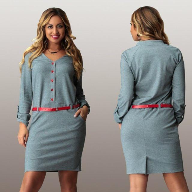 Elegant Office Work Dress 2016 Spring V Neck Long Sleeve Winter Oversize Casual Midi