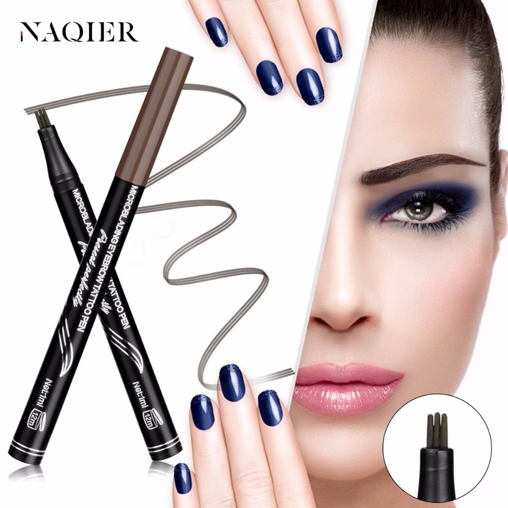 NAQIER 3 Colors microblading Eyebrow Tattoo Pen Fine Sketch Liquid Tint Natural Tattoo Waterproof Brown Eye brow Pencil Makeup
