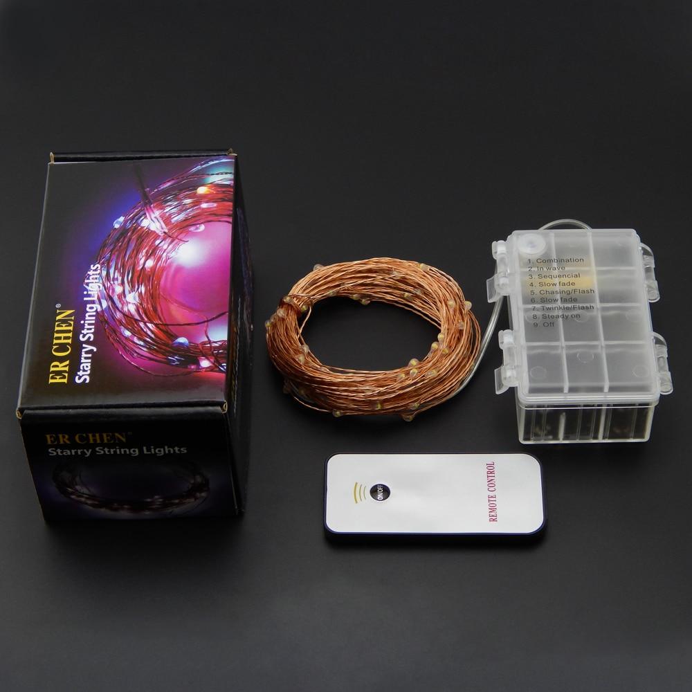 10M 33Ft 100 leds 6AA Batterie Aluminium Imperméable Télécommande - Éclairage festif - Photo 2