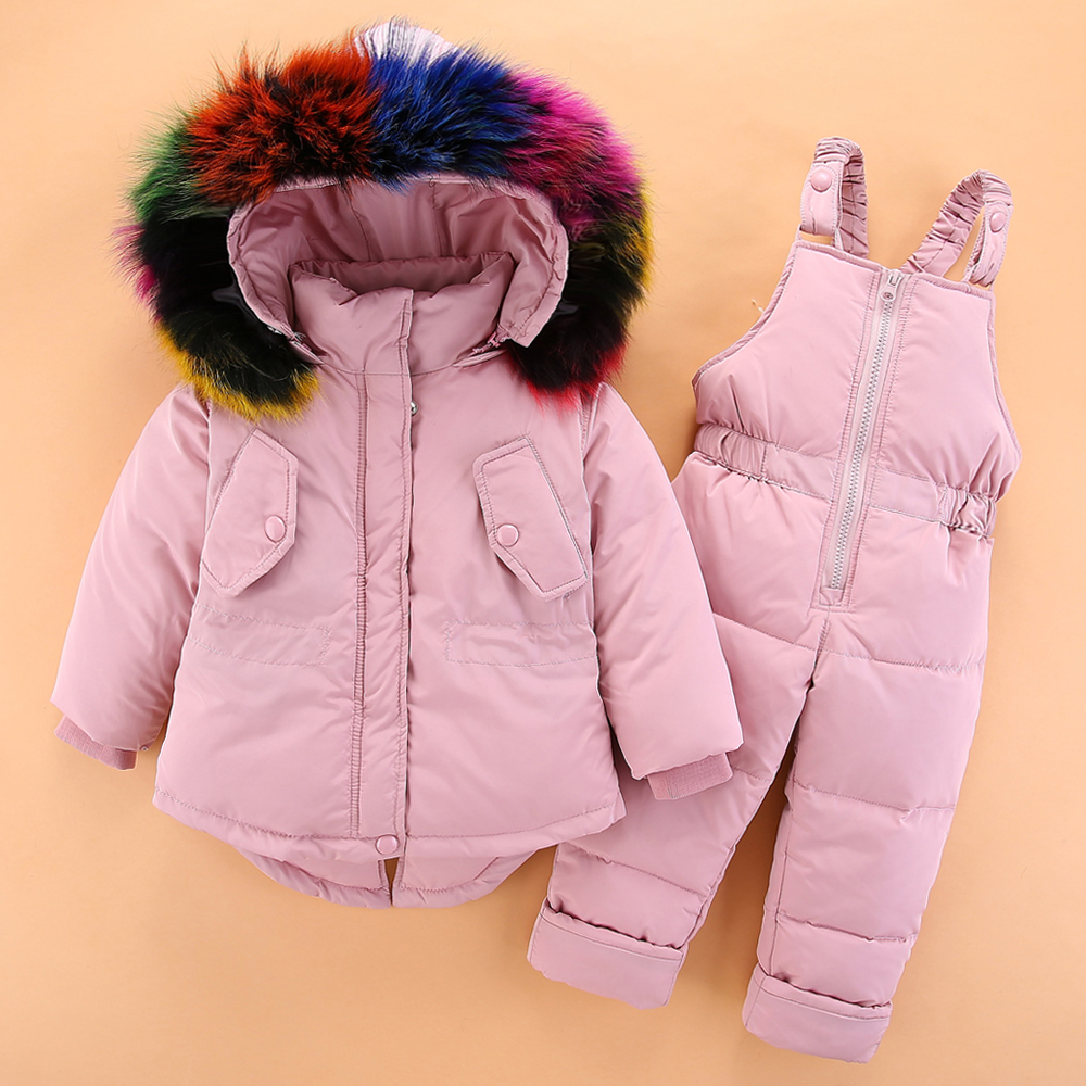 2018 New girls Winter duck down Jacket Girl Winter Coat Kids Warm Thick Fur Collar Hooded down Coats baby ski clothes suit 2018 new baby girls winter warm clothes 90% white duck down suit 1 3y girls fur collar down jacket girls outwear snowsuit coat