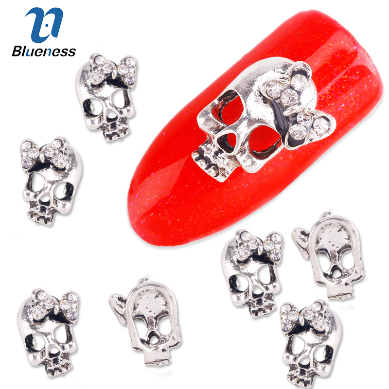 Blueness 10Pcs/Lot Silver Alloy Skull Charms 3D Nail Art Supplies Glitter Rhinestones Skeleton Studs Decorations For DIY Nails blueness 10pcs nail art decoration charms glitter rhinestone for strass silver alloy bow design adhesives studs accessory tn172