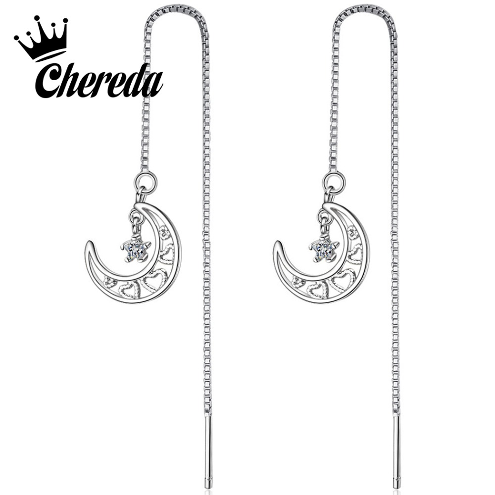 Chereda Hollow Moon Long Earring Bohemian Statement Dangle Earrings Brincos Christmas Gifts in Drop Earrings from Jewelry Accessories