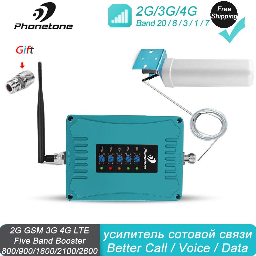 4G Ripetitore 4G 2600 Mhz 800/900/1800/2100/2600/Mhz 2G 3G Ripetitore Del Telefono Mobile Cellulare Signal Booster Amplificatore Omni Antenna Kit