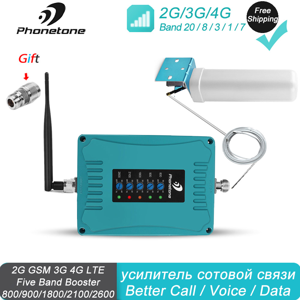 Répéteur 4G 2600 Mhz 800/900/1800/2100/2600//Mhz 2G 3G répéteur de téléphone portable amplificateur de Signal cellulaire Kit d'antenne Omni