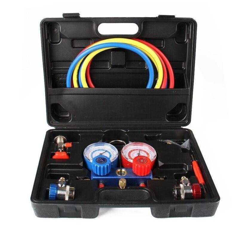 AC Refrigeration Kit A/C Manifold Gauge Set for Air R12 R22 R134a 410a R404z new manifold gauge set charging for r134a r12 r22 r404z air condition refrigeration