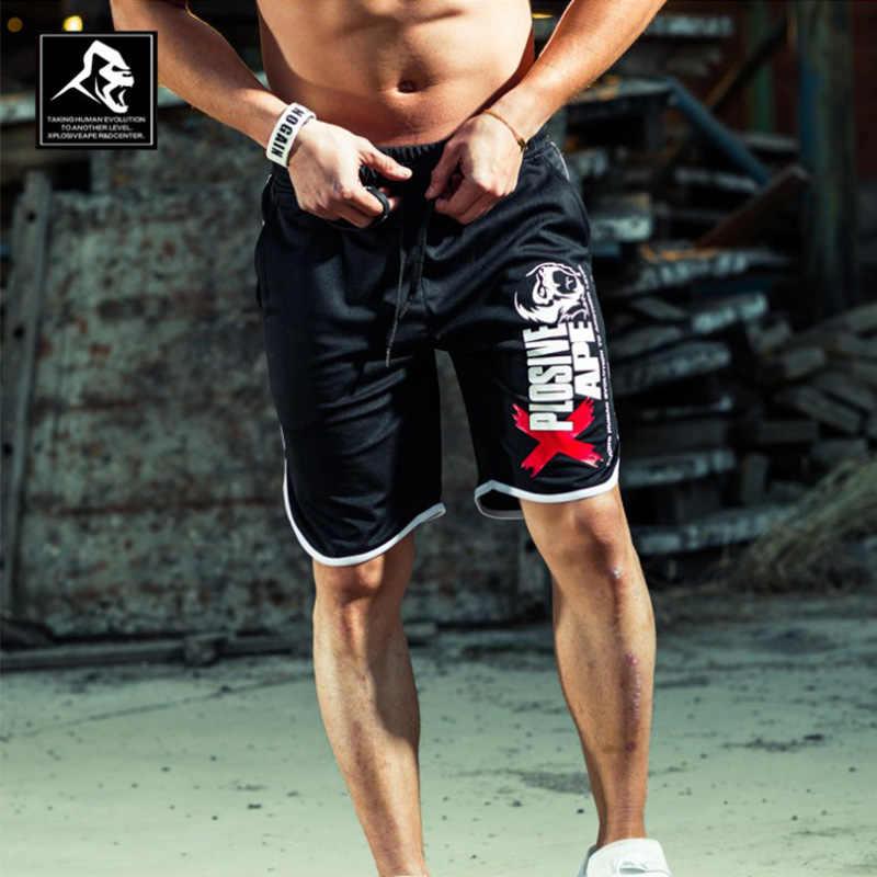 새로운 패션 남자 스포츠 바지 반바지 코튼 보디 빌딩 운동복 피트니스 짧은 조깅 캐주얼 체육관 남자 반바지