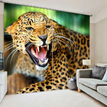 Leopard Print Room Darkening Curtain Thick Fabric 3D Curtains for Living Room Sunshade Window Curtains Custom-made Size