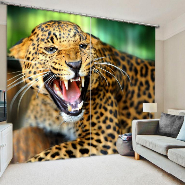 Leopardenmuster Zimmer Verdunkelung Vorhang Dicken Stoff 3D Vorhnge Fr Wohnzimmer Sonnenschirm Fenster Nach