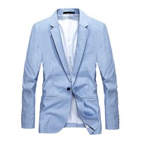 Spring Summer Casual Suit Blazer Men Formal Office Wedding Blazer Jacket Single Button Light Blue Male Clothes