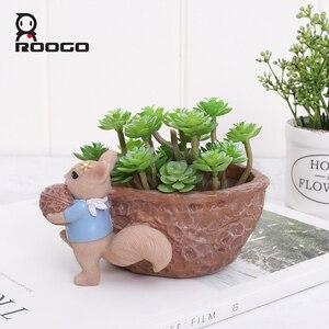 Image 3 - Roogo Muttern Haus Blumentopf Harz Töpfe Für Blumen Kleine Sukkulenten Pflanzer Nette Tier Bonsai Topf Für Home Garten Dekoration