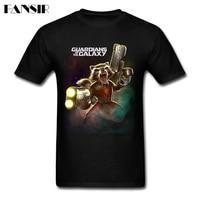Men T Shirt Funny Short Sleeve Cotton Custom T Shirts Men Male Rocket Raccon Guardians Of