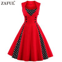 ZAFUL 5 Color Plus Size Summer Women Red Polk Dot Vintage Audrey Hepbum 50s Rockabilly Robe