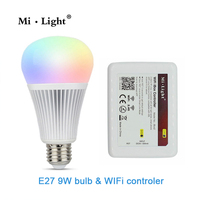 Milight 2.4G E27 Wifi Ampoule 9 W RGBW RVB Blanc/Blanc Chaud Led Ampoules Lumière + 1x Wifi Controller pour iPhone iOS Android Smartphone