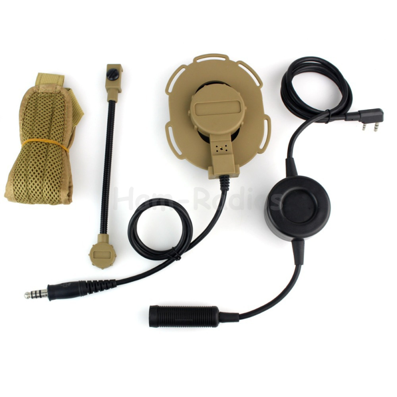 New HD03 Z Tactical Bowman Elite II Headset With Waterproof PTT Right/Left Ear For Kenwood 2 Pin Two-way Radios Yellow