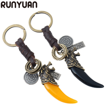 RUNYUAN Fashion Black/Orange Wolf Tooth Dragon Men's Key chain tiger eagle Pendant Keychaine Car men Key Rings bag Accessories