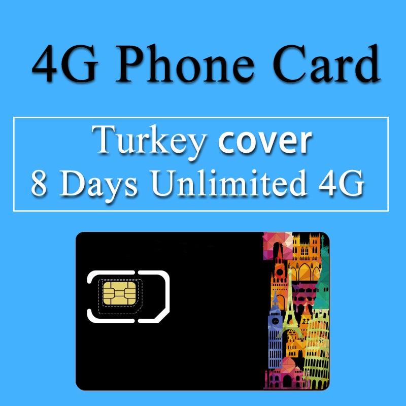 Турция sim-карты 8 дней план неограниченное 4 г данные высокого Скорость мобильный телефон карты 3 в 1 путешествия SIM только карта памяти для Ту…