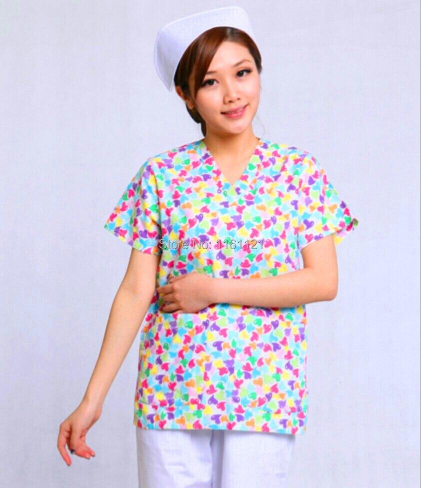2015 Hot Sale Hospital Surgical Cap Jalecos New Women's Hospital Medical Scrub Top V Neck Design Short Sleeve Free Shipping