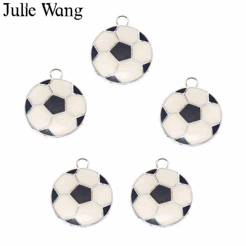 Julie Wang 1 pacote Liga Esmalte Branco Preto Futebol Encantos Colar Pingente Brincos Achados DIY Metal Fazer Jóias Acessório