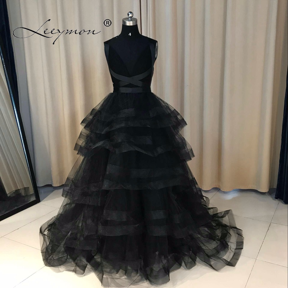 Leeymon Custom Made Ny Aftonklänning Sexig Open Back Svart Prom Klänning Tiered Ball Gown Party Dress 2017 Vestido De Festa
