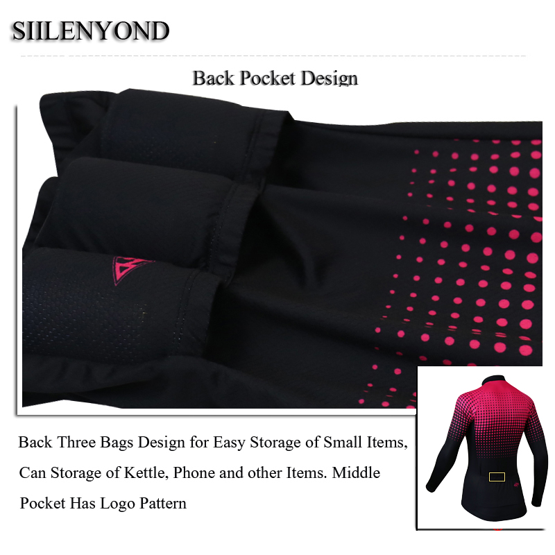 Siilenyond 2019 Women Winter Long Sleeve Cycling Jersey Keep Warm MTB Bicycle Cycling Clothes Thermal Fleece Cycling Clothing 11
