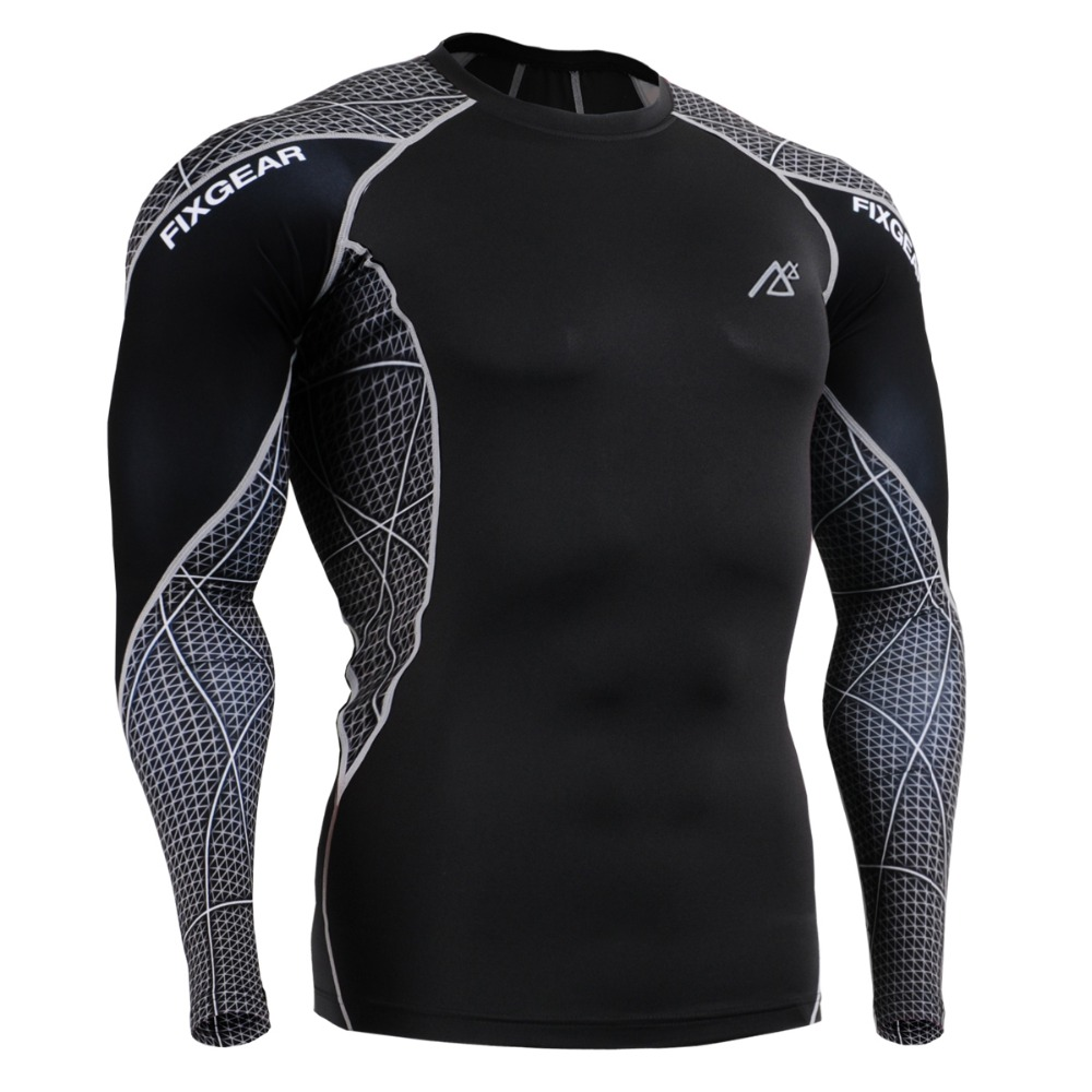 Tech Compression Shirt Fitness Clothing Base Men Long