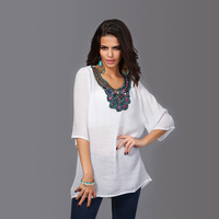 Fashion Women Embroidered And Beads Nailed Blouse Plus Size Blouse Dress L 2XL