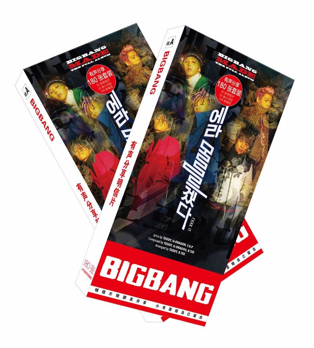 180pcs/Set Korean Bigbang Paper Postcard/Greeting Card/Message Card/Christmas And New Year Gifts
