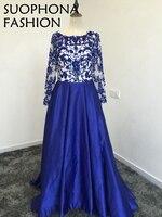 Nueva Llegada de Cuello Alto azul Real vestidos de Noche de manga Larga 2018 de Encaje Rebordear Una Línea de Vestido de fiesta vestido de Noche Plus tamaño