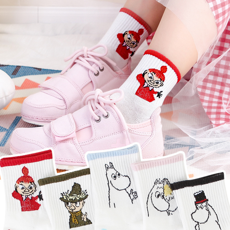 2019 New Autumn And Winter Women Mumin Moomin Socks Hippo Cartoon Animal Funny Middle Tube Footwear